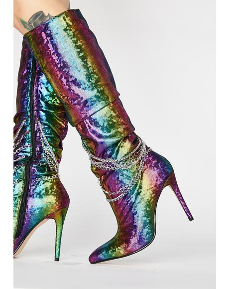 Rainbow Spandau Knee High Boots