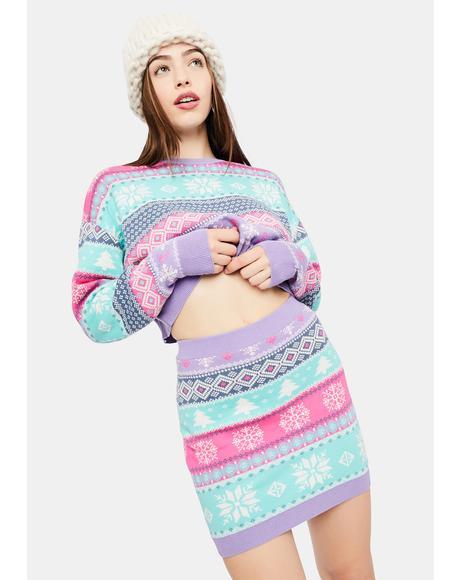 Visions Of Sugarplums Fairisle Mini Skirt