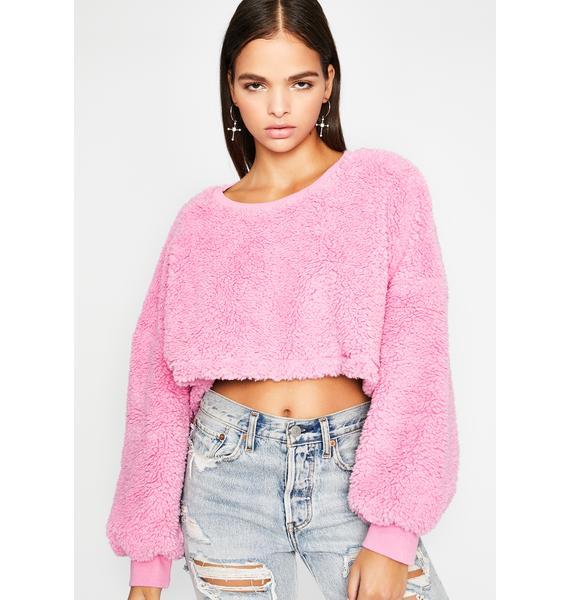 Blush Teddy Bear Baby Crop Sweater