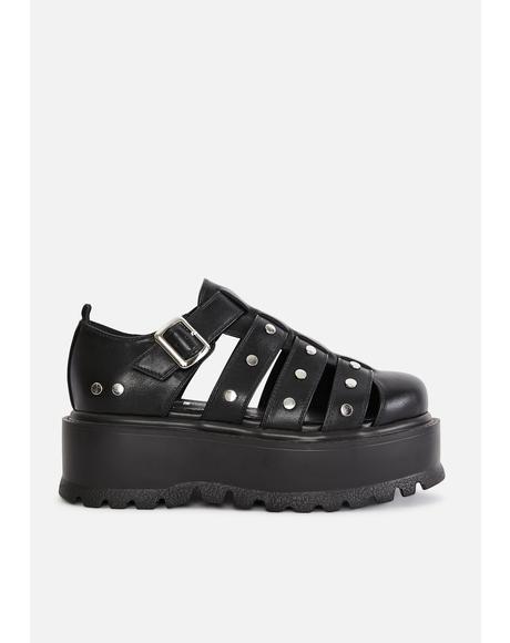 Black Relay Platform Sandals