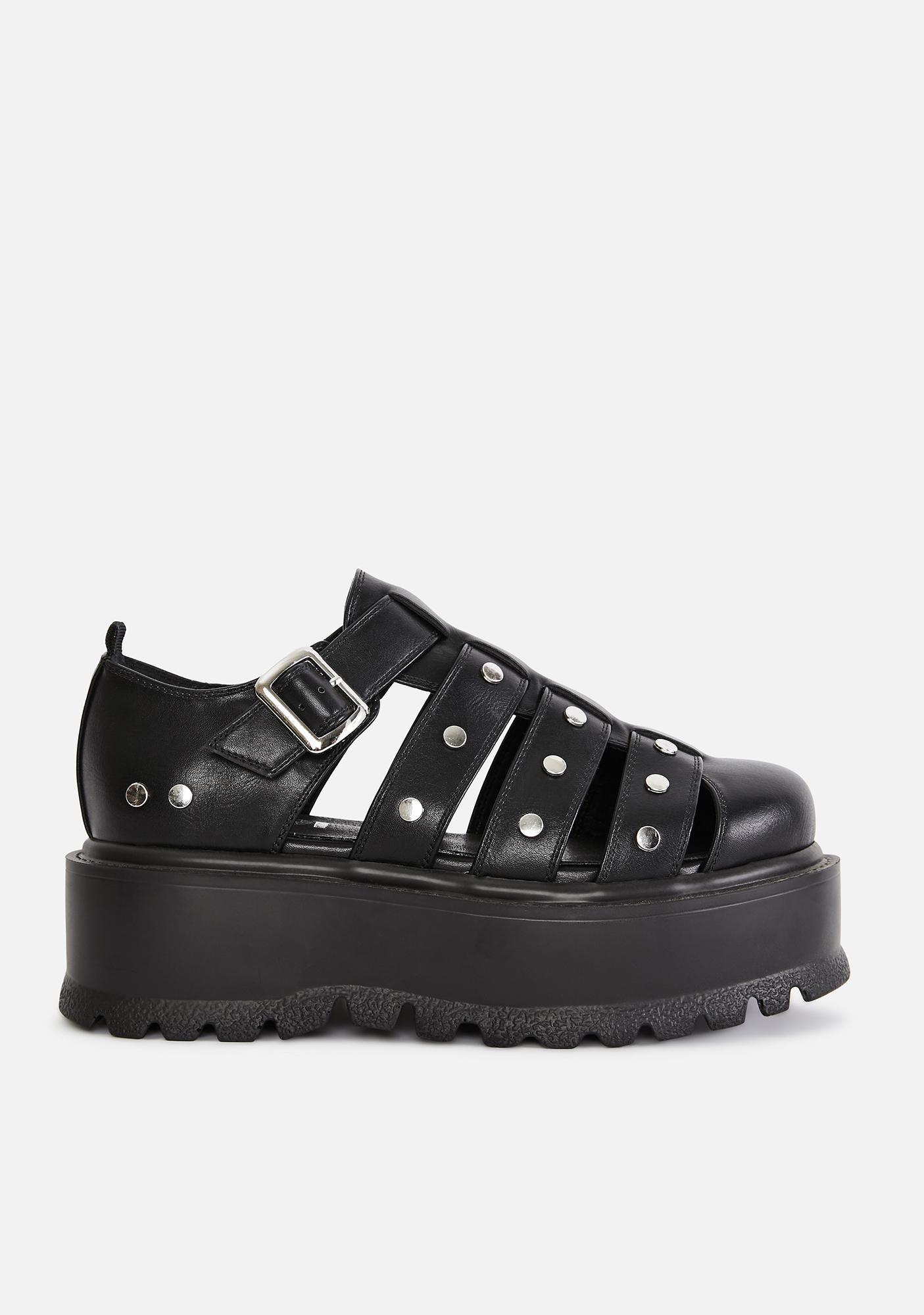Koi Footwear Black Relay Platform Sandals