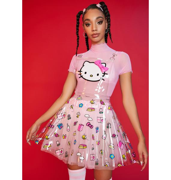 Dolls Kill x Hello Kitty My Favorite Things Clear Overall Dress