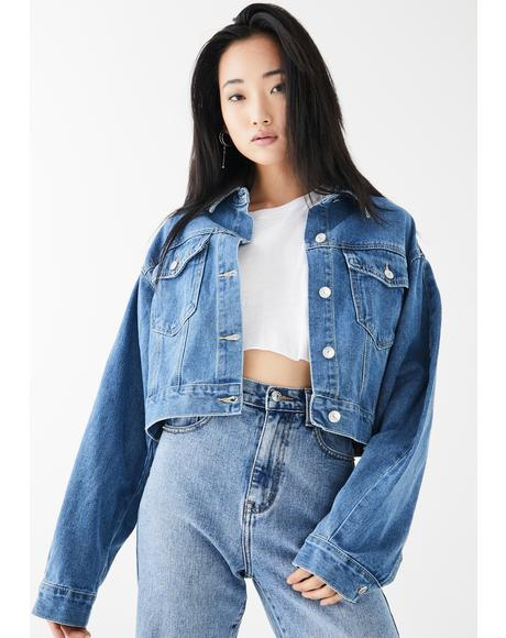 Blue Balloon Sleeve Denim Jacket