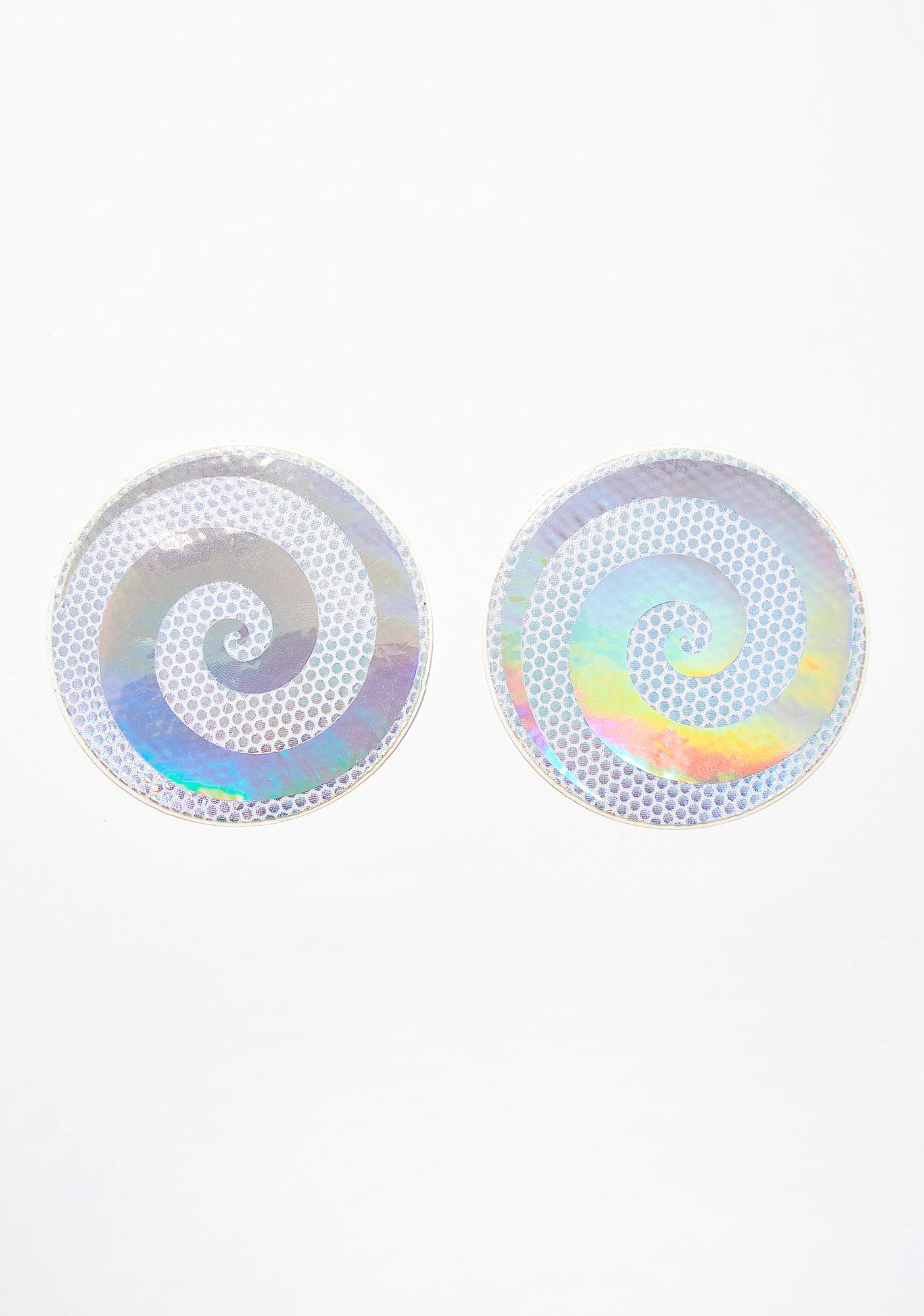Neva Nude Tie Dye And Holo Spiral Pasties
