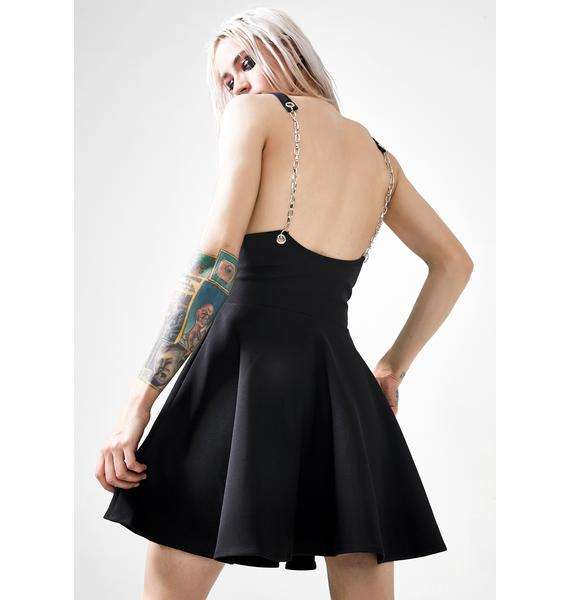 Punk Rave Punk Chain Strap Flared Half Skirt