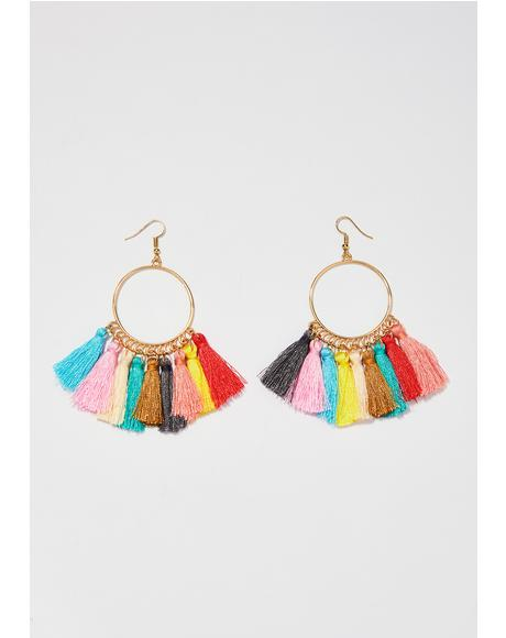 Chakra Shimmy Tassel Earrings