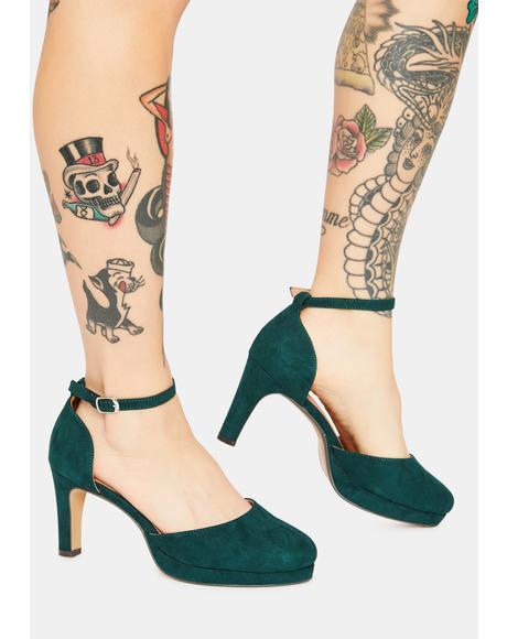 Green Shoshy Suede Heels