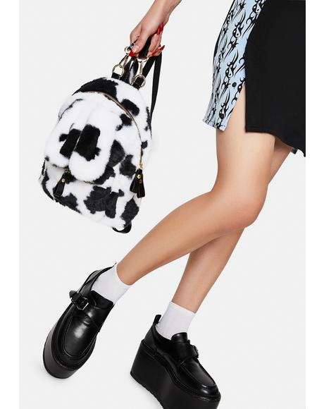 Bad Moove Along Cow Print Sherpa Backpack