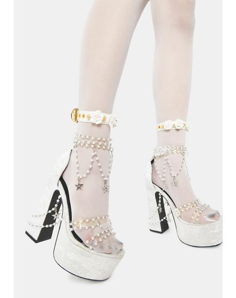 Ivory Prickly Lover Rose Ankle Cuffs