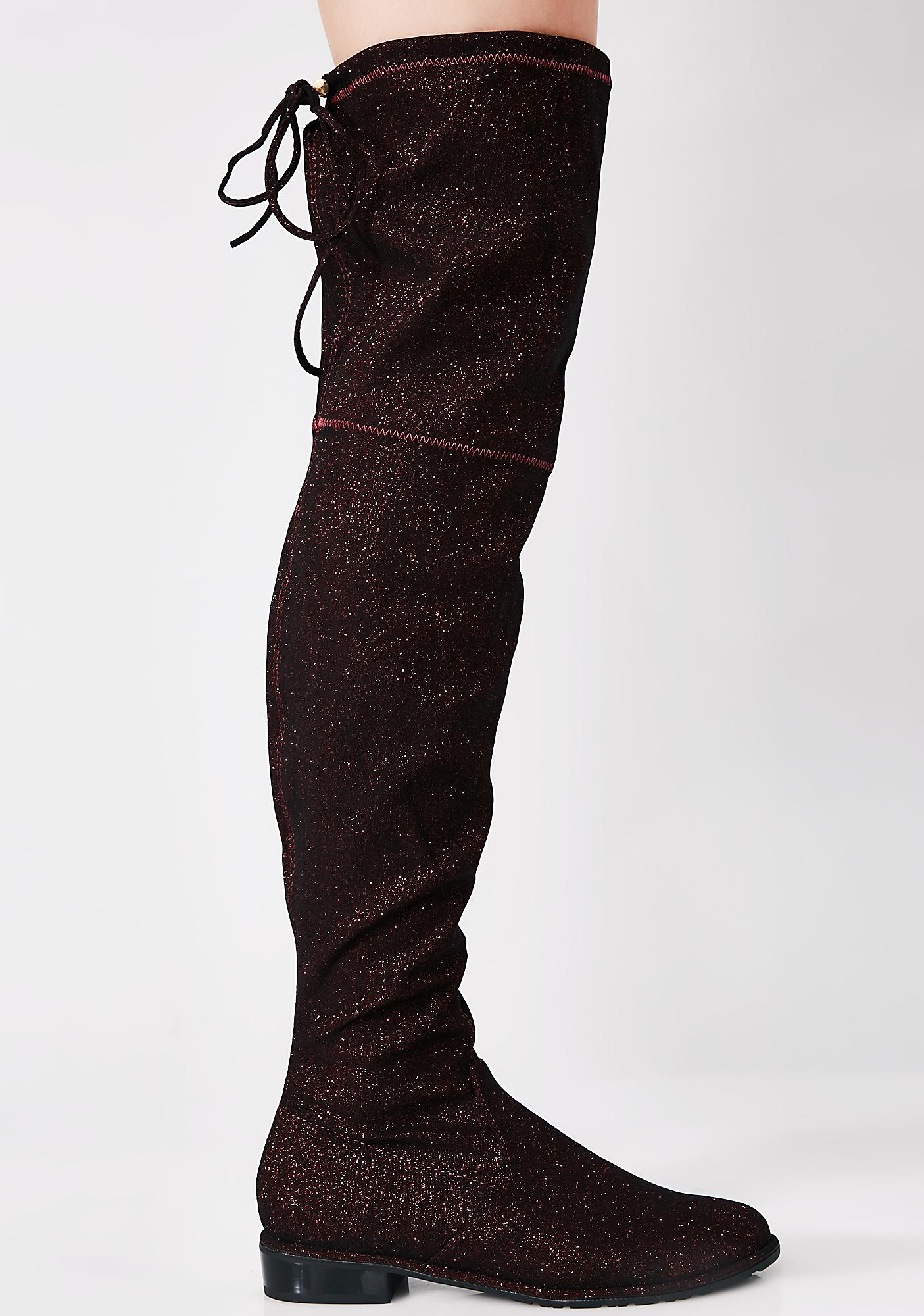 Scarlet Glitter Ditz Over The Knee Boots