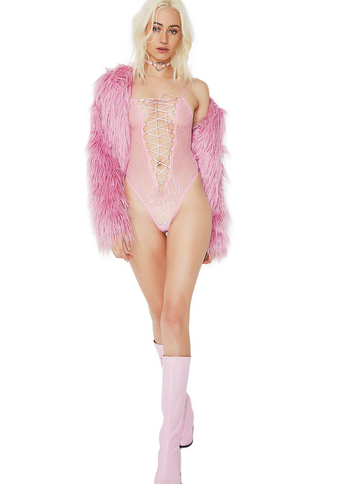 Sugar Thrillz Cupid's Crush Lace-Up Bodysuit