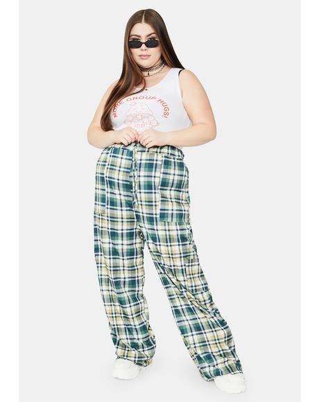 Curve Green Check Wide Leg Trousers