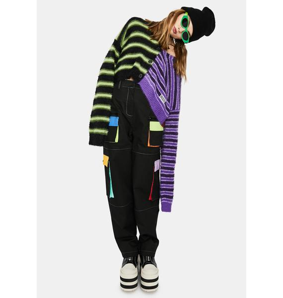 The Ragged Priest Frat Fuzzy Stripe Cardigan