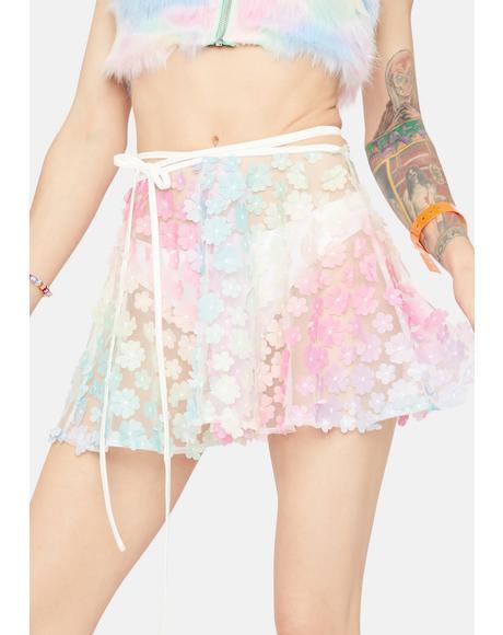 House In Malibu Sheer Floral Mini Skirt