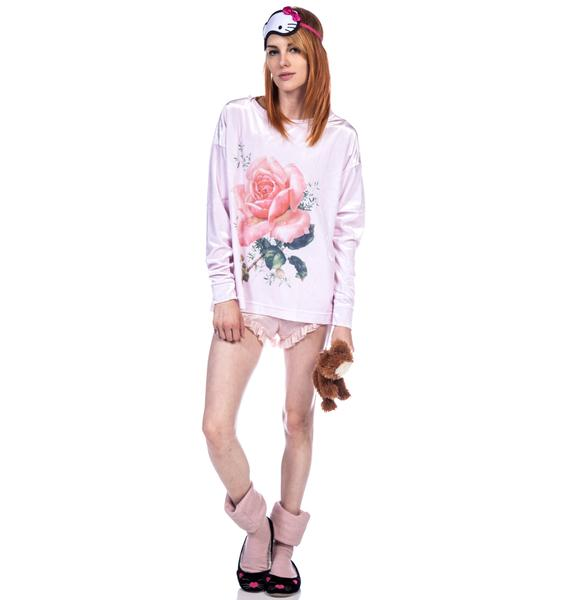 Wildfox Couture A Rose Will Bloom Long Sleeve Crew Sweater