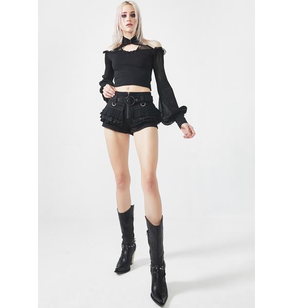 Punk Rave Steampunk Stone Wash Belted Shorts