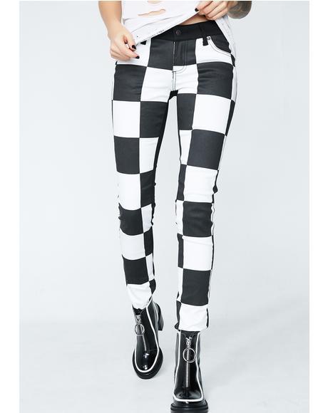 Jumbo Check Split Front Skinny Jeans