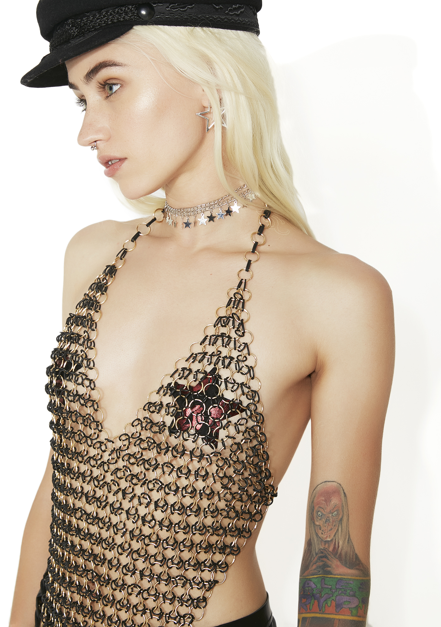 Long O-Ring Metal Chainmail Top Gold