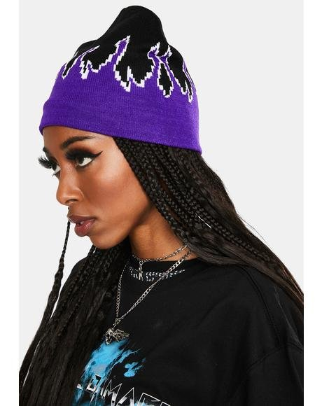 Violet Hothead Knit Beanie