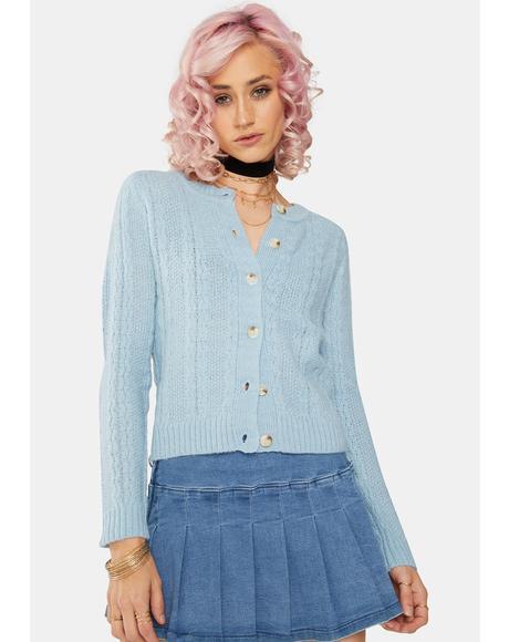 Sky Blue Knit Cardigan