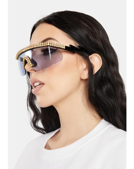 Aqua Stay Unbothered Rhinestone Sunglasses