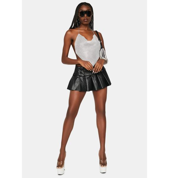 Platinum Miss Luxurious Metal Mesh Halter Top