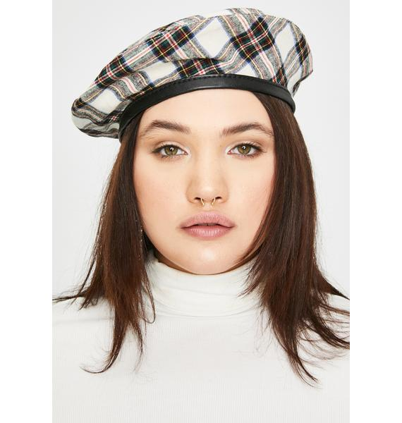 Pure Star Student Plaid Beret