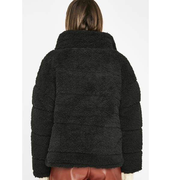 Midnight Teddy Betty Puffer Jacket