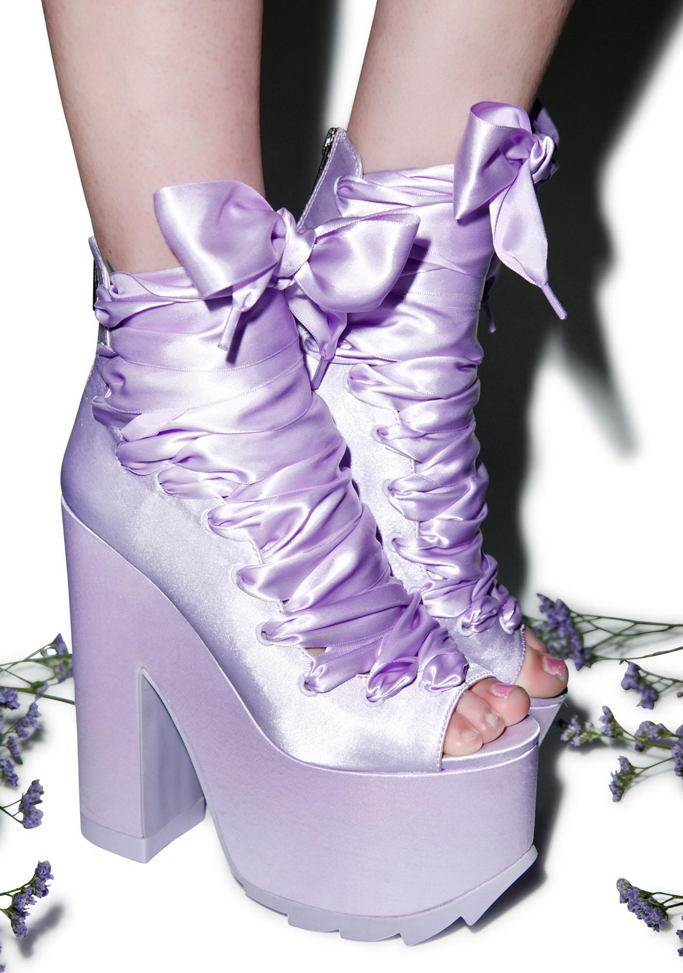 Y.R.U. x Dolls Kill Ballet Bae Satin Platforms