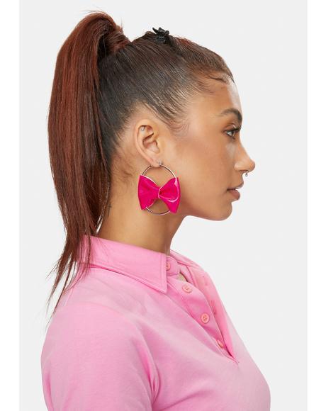 Pink Intention Bow Hoop Earrings