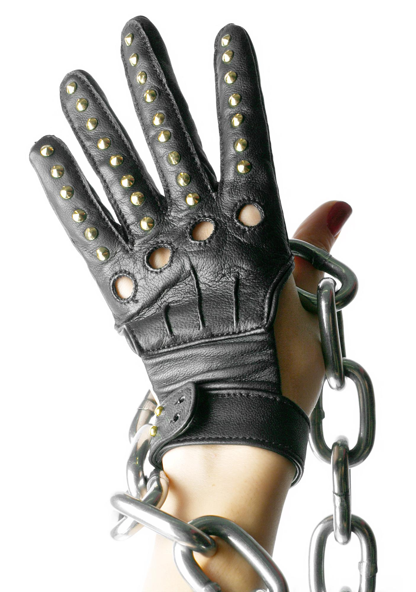 Majesty Black Studded Bandita Gloves
