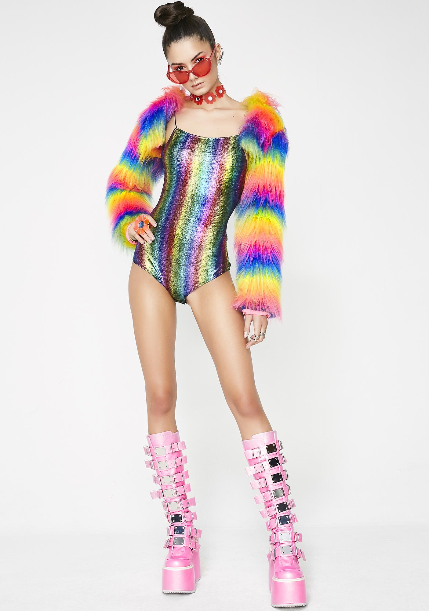 Rainbow Vision Metallic Bodysuit