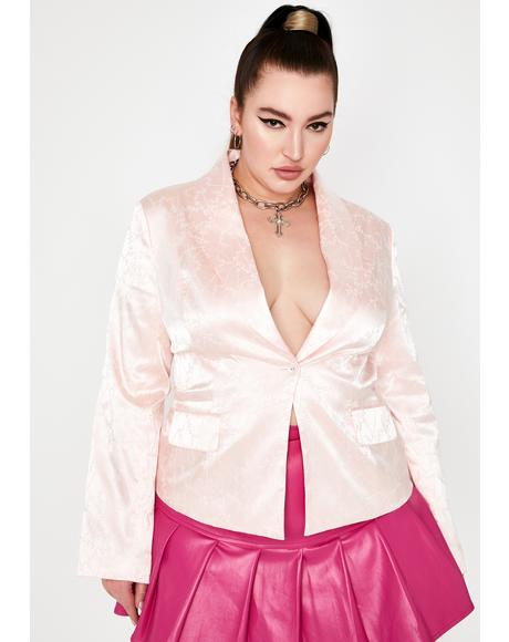 Pretty Glam Roof Top Nights Satin Blazer