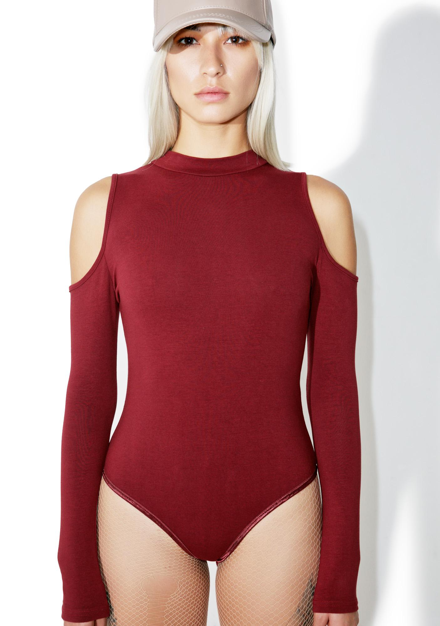 Glamorous Burgundy Say That Cutout Bodysuit