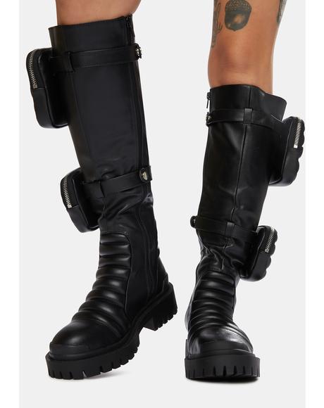 Black Tayla Knee High Boots