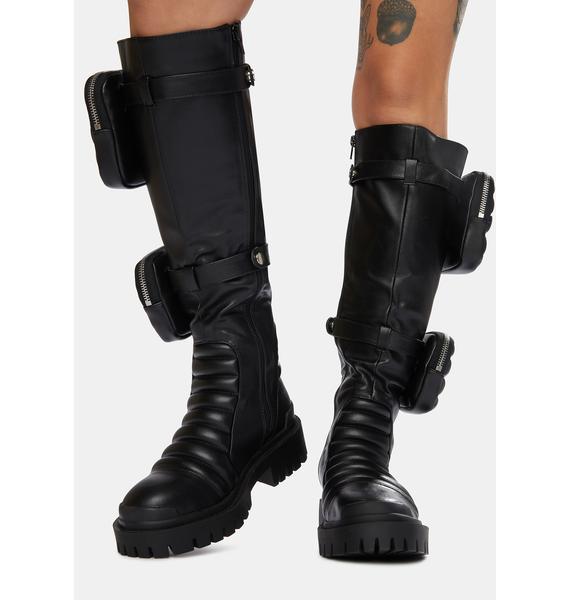 Public Desire Black Tayla Knee High Boots