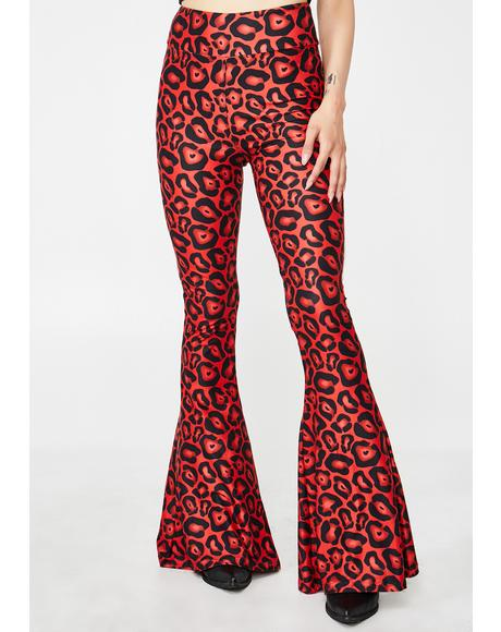 Raving Red Leopard Bell Bottom Flares