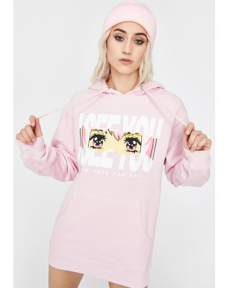 Pink Here For You Graphic Hoodie