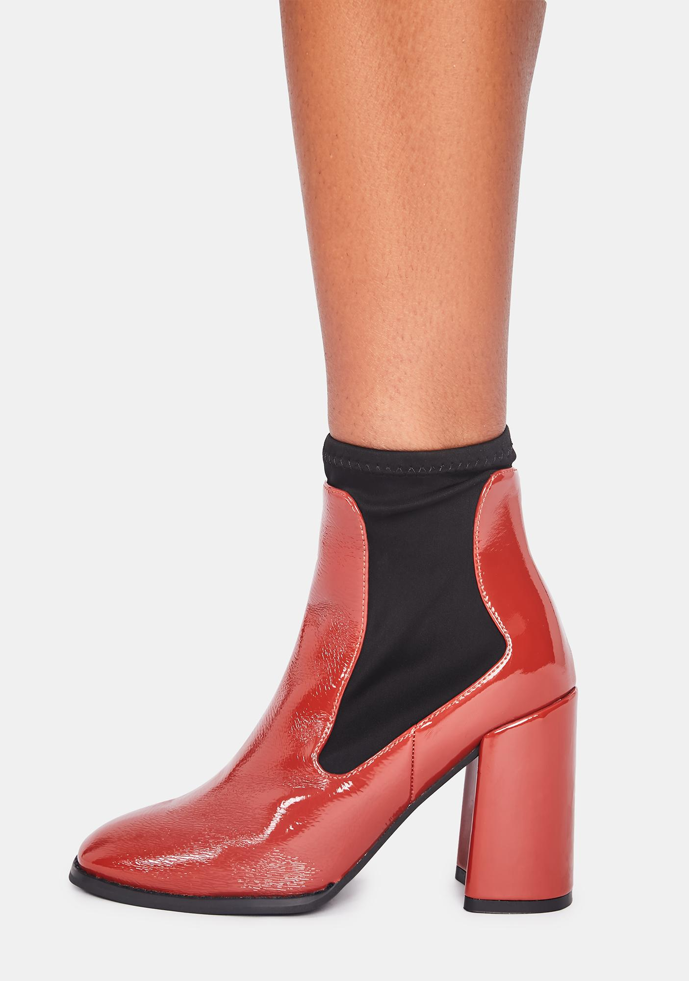 Cherry Toe The Line Ankle Boots