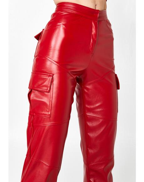 Slit Leather Cargo Pants