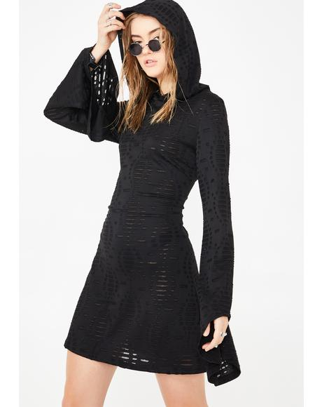 Flared Sleeve Hooded Skater Dress