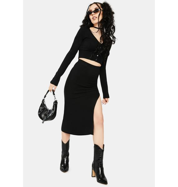 Re Named Janet Knit Slit Skirt