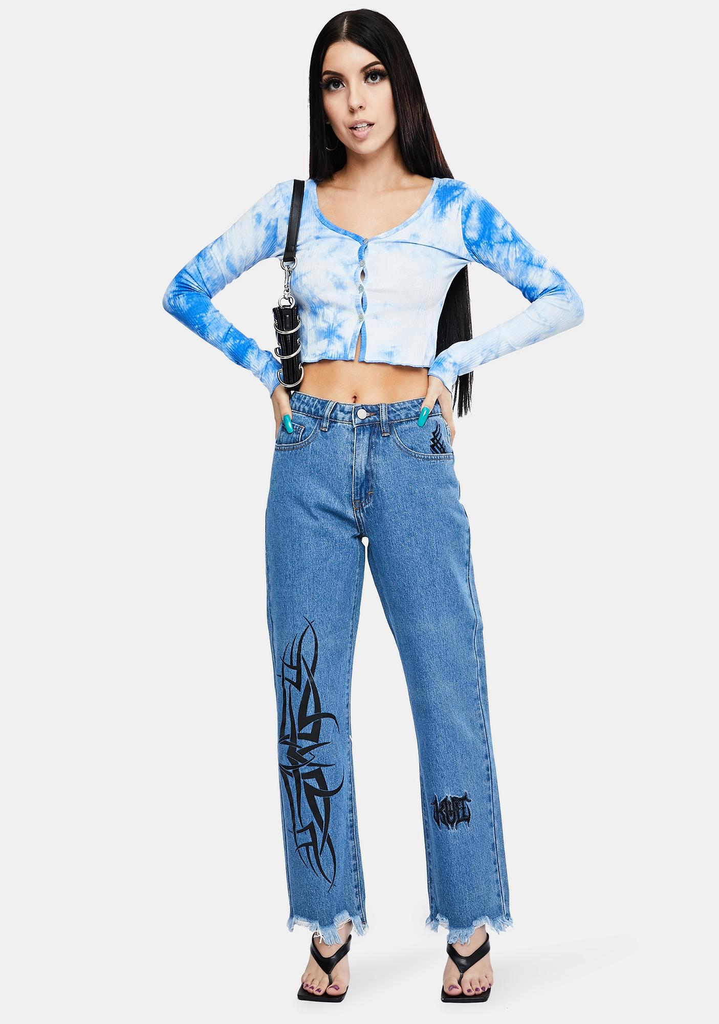 Sky Be The Free Tie Dye Button Up Crop Top