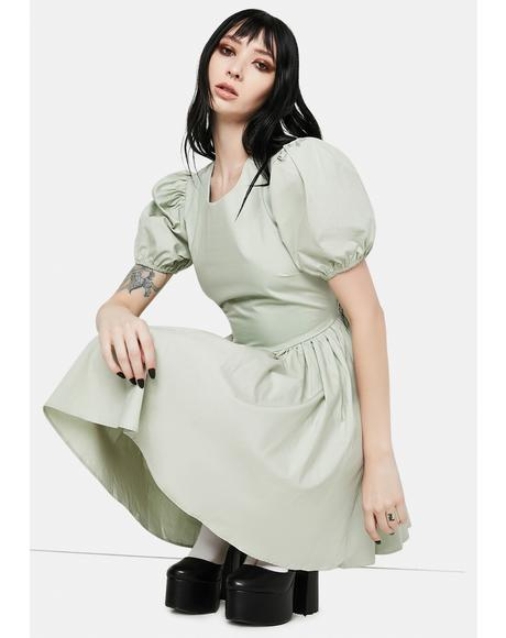Sage Lara Puff Sleeve Mini Dress