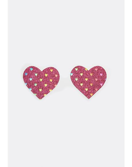 Sparkly Pink Rainbow Heart Pasties
