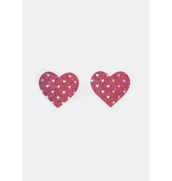 Neva Nude Sparkly Pink Rainbow Heart Pasties