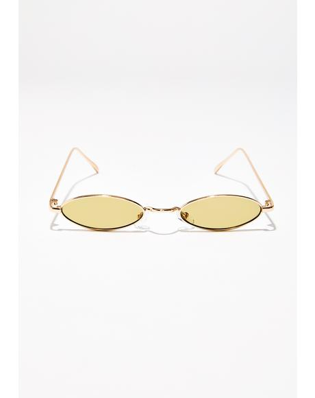 Golden Till The Sun Up Oval Sunglasses