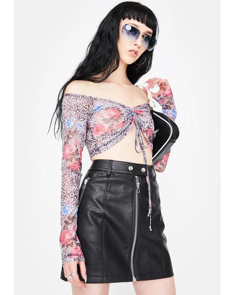 Jungle Rose Mesh Ganida Crop Top