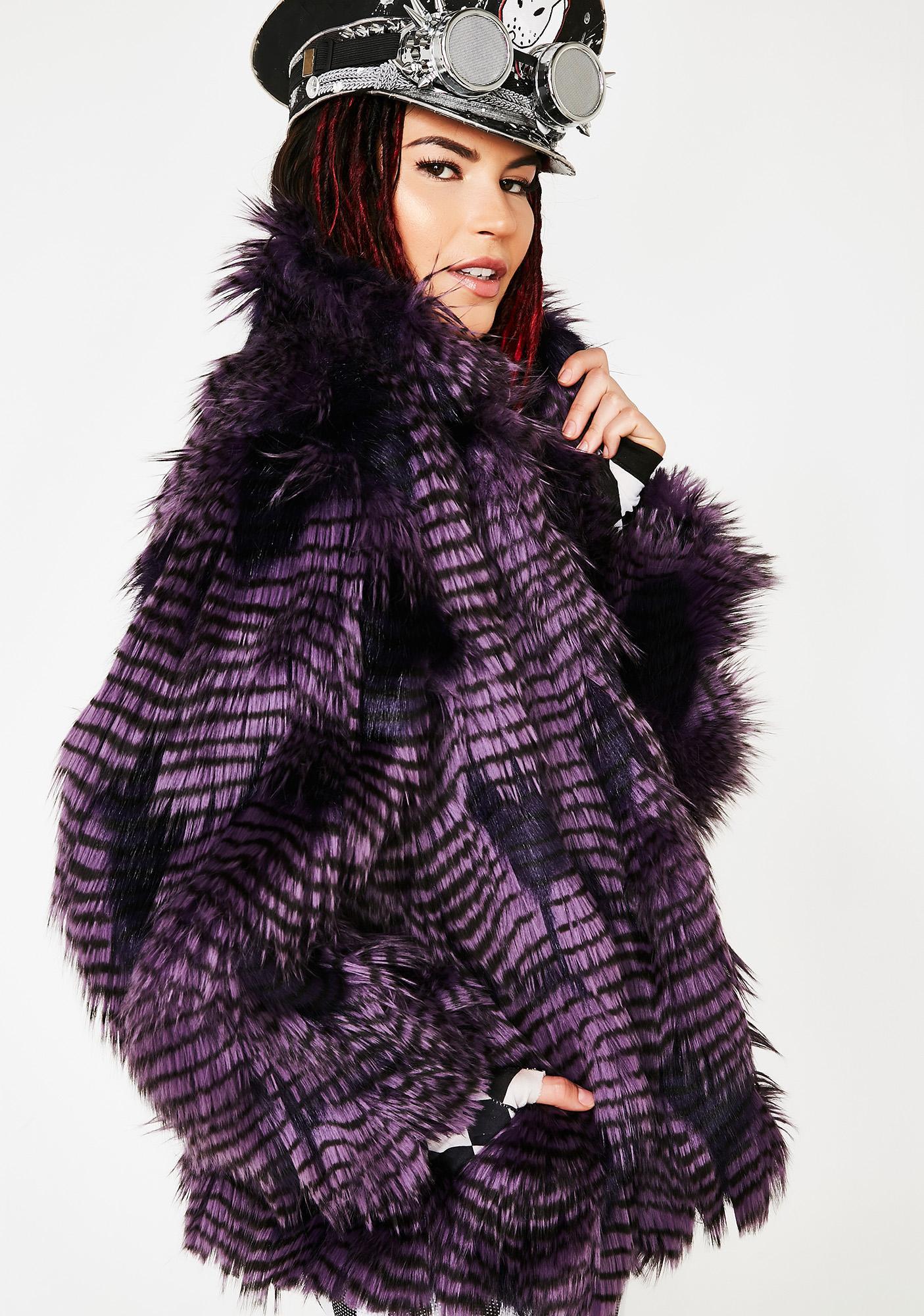 J Valentine Midnight Twilight Sparkle Faux Fur Coat