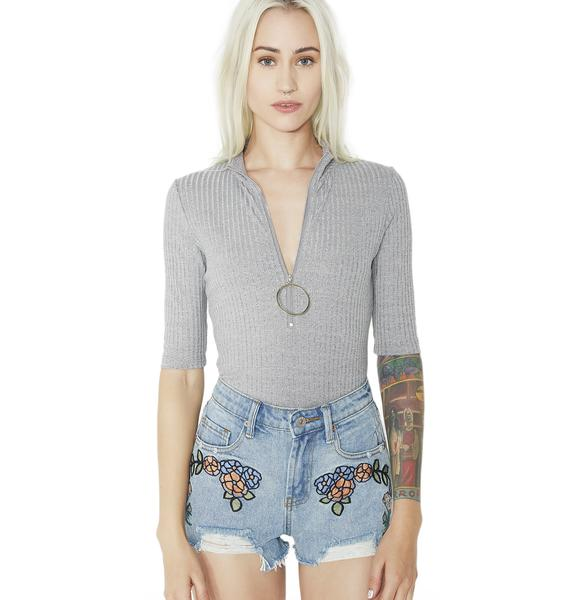 Blossom Fever Embroidered Denim Shorts